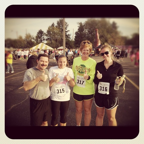 Ran with my dad, my mother-in-law and my sister-in-law (who is training for her first FULL MARATHON!) This race was my fastest 5K time -- 30:45. September 2012.